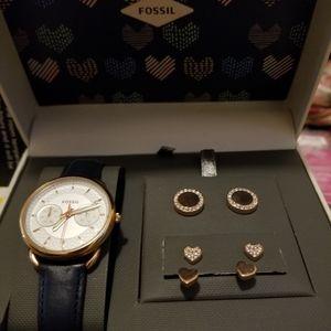 FOSSIL watch + earrings